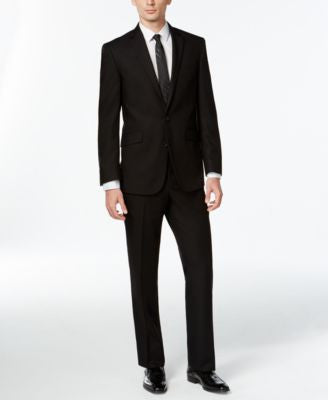 Kenneth Cole Reaction Black Solid Slim-Fit Suit