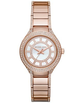 Michael Kors Women's Mini Kerry Rose Gold-Tone Stainless Steel & Pavé Crystal Bracelet Watch 33mm MK