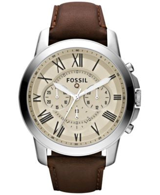 Fossil Men's Chronograph Q Grant Brown Leather Strap Smartwatch 44mm FTW10001