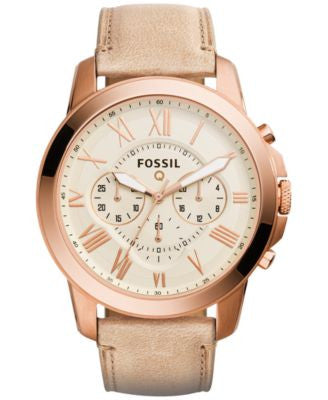 Fossil Men's Chronograph Q Grant Sand Leather Strap Smartwatch 44mm FTW10021
