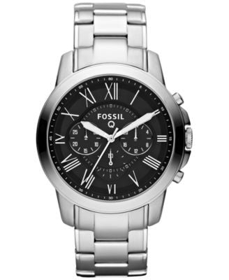 Fossil Men's Chronograph Q Grant Stainless Steel Bracelet Smartwatch 44mm FTW10031