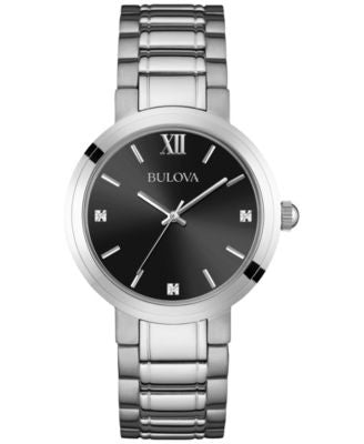 Bulova Men's Diamond Accent Stainless Steel Bracelet Watch 38mm 96D124