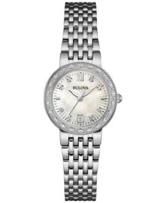 Bulova Women's Maiden Lane Diamond Accent Stainless Steel Bracelet Watch 26mm 96R203