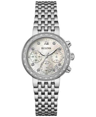 Bulova Women's Chronograph Maiden Lane Diamond Accent Stainless Steel Bracelet Watch 30mm 96R204