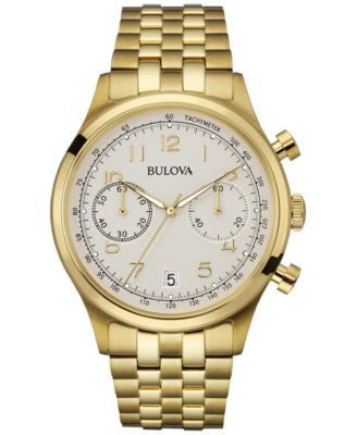 Bulova Men's Chronograph Gold-Tone Stainless Steel Bracelet Watch 43mm 97B149