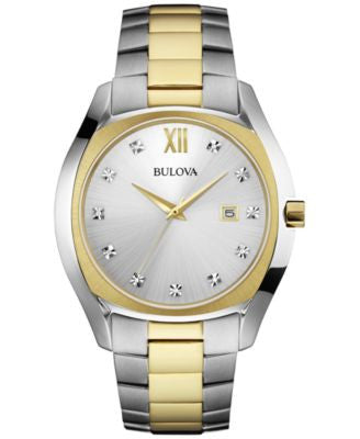 Bulova Men's Diamond Accent Two-Tone Stainless Steel Bracelet Watch 43mm 98D125