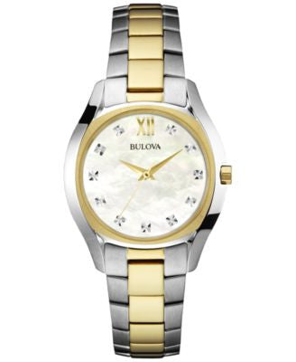 Bulova Women's Diamond Accent Two-Tone Stainless Steel Bracelet Watch 33mm 98P145