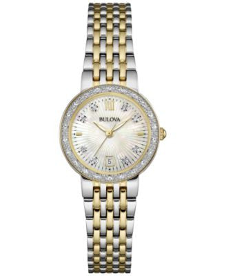 Bulova Women's Maiden Lane Diamond Accent Two-Tone Stainless Steel Bracelet Watch 26mm 98R211