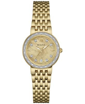 Bulova Women's Maiden Lane Diamond Accent Gold-Tone Stainless Steel Bracelet Watch 26mm 98R212