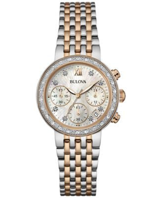 Bulova Women's Chronograph Maiden Lane Diamond Accent Two-Tone Stainless Steel Bracelet Watch 30mm 9