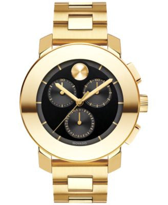Movado Women's Swiss Chronograph BOLD Gold-Tone Ion-Plated Stainless Steel Bracelet Watch 38mm 36003