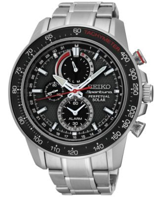Seiko Men's Solar Chronograph Sportura Stainless Steel Bracelet Watch 45mm SSC357