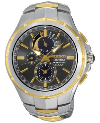 Seiko Men's Solar Chronograph Coutura Two-Tone Stainless Steel Bracelet Watch 44mm SSC376