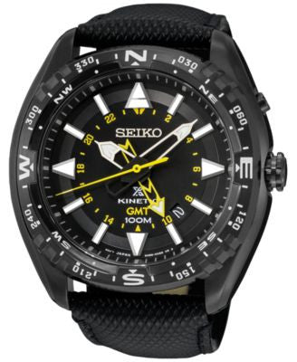 Seiko Men's Prospex Kinetic GMT Black Leather Strap Watch 46mm SUN057