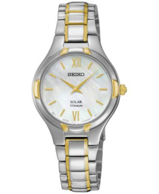Seiko Women's Solar Two-Tone Titanium Bracelet Watch 28mm SUP292