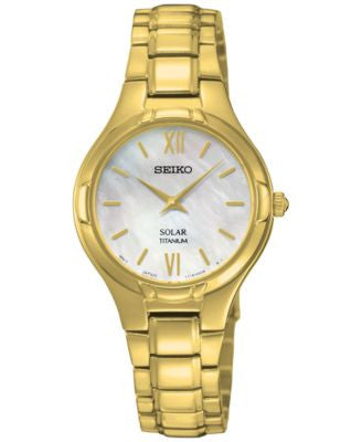 Seiko Women's Solar Gold-Tone Titanium Bracelet Watch 28mm SUP294