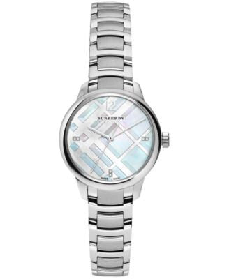 Burberry Women's Swiss Diamond Accent Stainless Steel Bracelet Watch 32mm BU10110