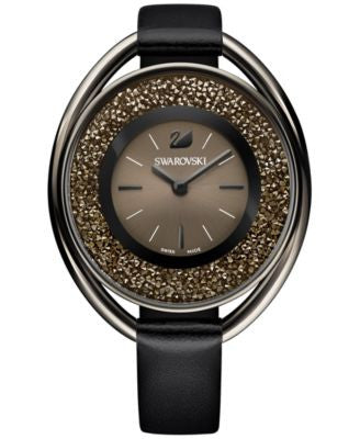Swarovski Women's Black-Tone Crystalline Fabric Strap Watch 43mm