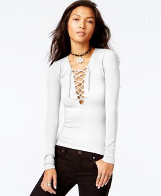 Free People Long-Sleeve Lace-Up Top