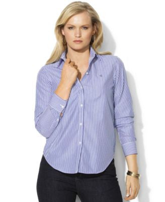 Lauren Ralph Lauren Plus Size Wrinkle-Free Bengal-Striped Dress Shirt