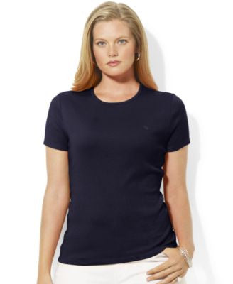 Lauren Ralph Lauren Plus Size Ribbed Crewneck T-Shirt