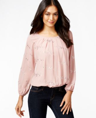 NY Collection Petite Metallic Peasant Bubble-Hem Top