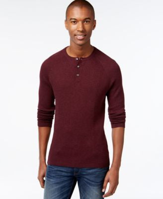 Vince Camuto Men's Waffle-Knit Thermal Henley Sweater