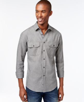 Vince Camuto Men's Herringbone Long-Sleeve Sport Shirt