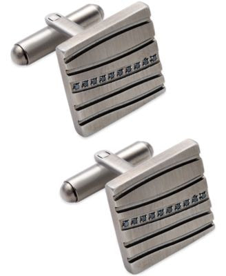 Cubic Zirconia Accent Striped Cufflinks in Stainless Steel