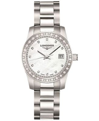 Longines Women's Conquest Diamond (1/2 ct. t.w.) Stainless Steel Bracelet Watch 29mm L33000876