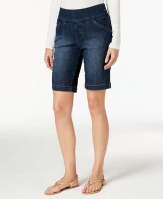 JAG Petite Ainsley Anchor Blue Wash Denim Bermuda Pull-On Shorts