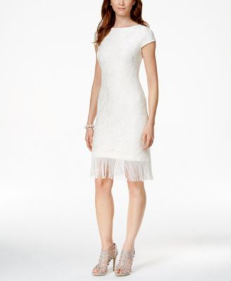 Jessica Howard Lace Fringe Sheath Dress