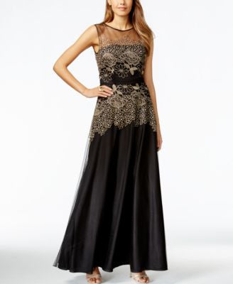 Tahari ASL Embroidered Illusion Gown