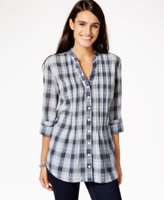 Style & Co. Plaid Button-Down Embroidered Shirt, Only at Vogily