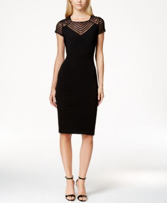 Calvin Klein Cap-Sleeve Banded Sheath Dress