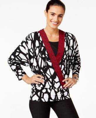 Alfani Printed Faux-Wrap Top, Only at Vogily