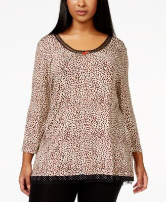 Ellen Tracy Plus Size Cheetah-Print Sleep Top
