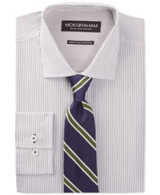 Nick Graham Green Stripe Dress Shirt and Navy Stripe Tie Set