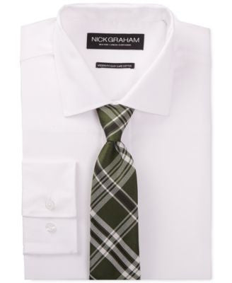 Nick Graham White Solid Dress Shirt and Green Plaid Tie Set