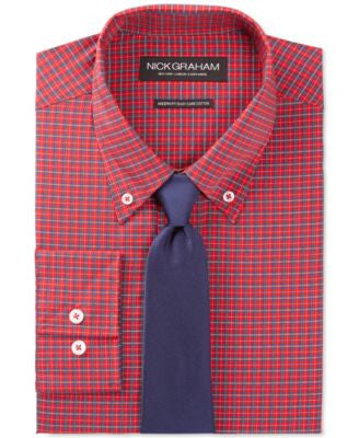 Nick Graham Red Tartan Dress Shirt and Navy Solid Tie Set