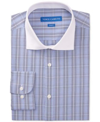 Vince Camuto Slim-Fit Cobalt Plaid with Contrast Collar Dress Shirt