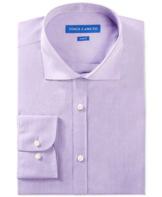 Vince Camuto Slim-Fit Deep Purple Chambray Dress Shirt