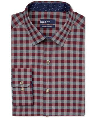 Bar III Carnaby Collection Slim-Fit Maroon Gingham Dress Shirt, Only at Vogily