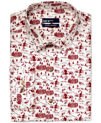Bar III Carnaby Collection Slim-Fit Ski Resort Print Dress Shirt, Only at Vogily