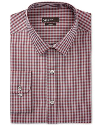Bar III Slim-Fit Merlot Heather Gingham Dress Shirt, Only at Vogily