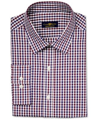Club Room Estate Classic-Fit Wrinkle-Resistant Burgundy Holiday Gingham Dress Shirt, Only at Vogily