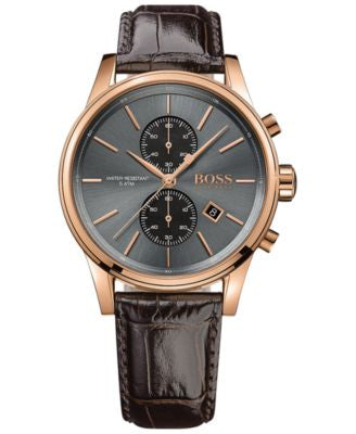 BOSS Hugo Boss Men's Chronograph Jet Brown Leather Strap Watch 41mm 1513281