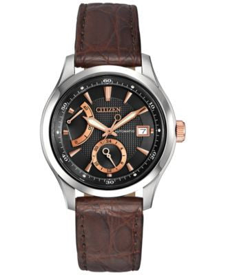 Citizen Men's Automatic Grand Classic Brown Genuine Crocodile Leather Strap Watch 43mm NB3016-05E