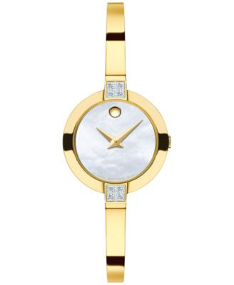 Movado Women's Swiss Bela Diamond (1/8 ct. t.w.) Gold-Tone PVD Stainless Steel Bracelet Watch 25mm 0