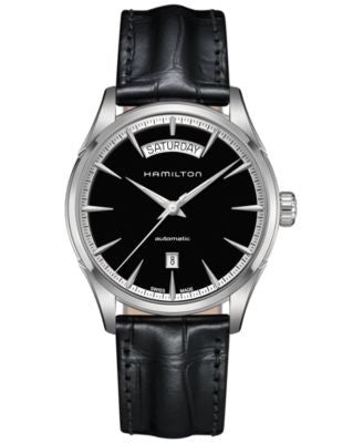 Hamilton Men's Swiss Automatic Jazzmaster Black Leather Strap Watch 42mm H42565731